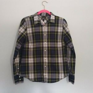 J. Crew Perfect Fit Shirt Navy Stewart Plaid Top